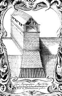 Разрез крепостной стены Смоленска с плана 1634 года, нарисованного Иоганном Плейтнером и выгравированного в Данциге в 1636 году Вильгельмом Гондиусом