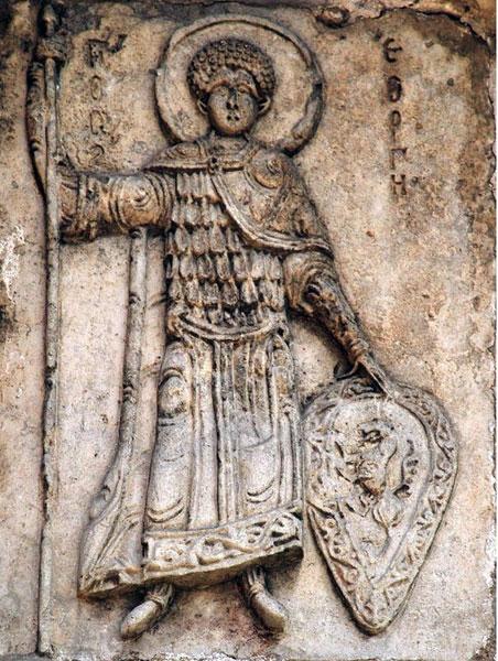 Святой Георгий на стене собора в Юрьеве-Польском
