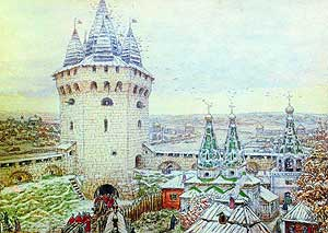 Семиверхая (Алексеевская) башня Белого Города. Рисунок А. Васнецова.