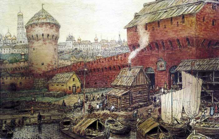 Спасские (Водяные) ворота Китай-Города. Рисунок А. Васнецова